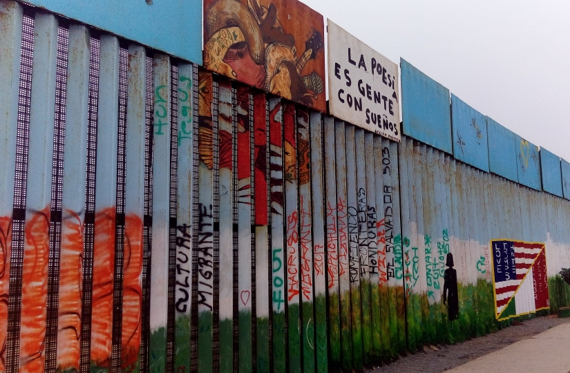 The border wall in Tijuana up close