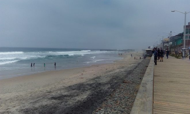 Playas de Tijuana with the border wall in the background